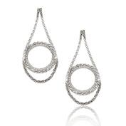 Spinningdaisy FA Series Silver Plated High Gloss Dangling Chain Circle Earrings
