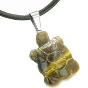 Good Luck Charm Turtle Amulet Tiger Eye Healing Powers Leather Pendant Necklace