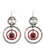 Handmade Silver Plated Drop Earring, 'Red Eye'