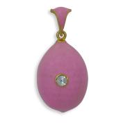 Rose Enamel Russian Royal Faberge Egg Pendant Necklace 48cm