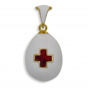 Red Cross Russian Royal Faberge Egg Pendant Necklace 48cm