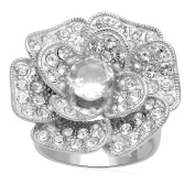Jewelili Synthetic White Quartz and Clear Crystal Sterling Silver Ring - Size 7