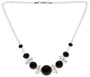 Lova Jewellery Black Onyx On White Necklace.