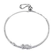 GTB1020 S925 Silver CZ Stones Oval Sizeable Tennis Link Bracelet Rhodium Plated