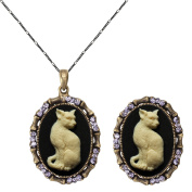 Cameo Cubic Necklace and Free Size Ring Set Fashion Antique Brass Jewellery 2pc Chain Gift