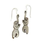 Mark Poulin Women's White Bronze Earrings Little Hanging Sloth