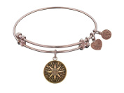"Angelica Collection Antique Smooth Finish Brass ""compass"" Expandable Bangle"