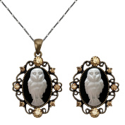 Owl Necklace Free Size Ring Set Cameo Fashion Antique Brass Jewellery Pouch for Gift