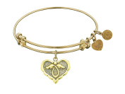 "Angelica Collection Antique Stipple Finish Brass ""angel"" Expandable Bangle"