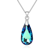 Jewistic Crystal Bermuda Blue Tear Drop Rhodium-Plated Necklace Made with Elements 5L50141