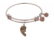 "Angelica Collection Antique Stipple Finish Brass Left-half Heart ""sisters"" Expandable Bangle"