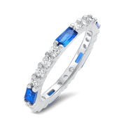 Silver Eternity Round and Baguette Simulated Sapphire Blue Cubic Zirconia Eternity Ring Sizes 5-11