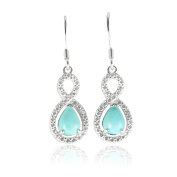 Halo Infinity Dangle Earrings Pear Cut Simulated Green Turquoise Round CZ 925 Sterling Silver