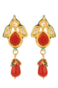 Dilan Jewels PURE Collection Ruby Red Droplet Stud Earrings Kundan Earrings For Women