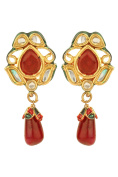 Dilan Jewels PURE Collection Ruby Red Colour Gold Plated Kundan Drop Earrings For Women