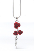 Lola Bella Gifts Crystal Detail Red Rose Flower Pendant Necklace with Gift Box