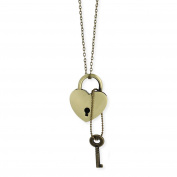 Gold Metal Heart Lock & Key Necklace