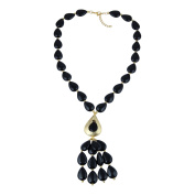 Pearlz Gallery Magical Pear Shaped Black Agate Gem Stone Beads Necklace for Women