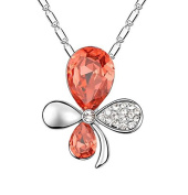 Jewistic Crystal Padparadscha Rhodium-Plated Butterfly Necklace Made with Elements 5L50134