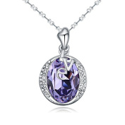 Jewistic Crystal Tanzanite Love Rhodium-Plated Necklace Made with Elements 5L50081