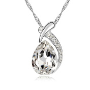 Jewistic Crystal Clear Pear Rhodium-Plated Necklace Made with Elements 5L50124