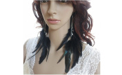 Feather Earrings for Women Chains Beads Long Feather Earrings for Women 49a1-11