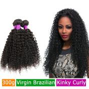 FeiBin Brazilian Hair Afro Kinky Curly Virgin Hair 3 Bundles Human Hair Weave Extensions 100% Unprocessed Healthy Natural Colour Mix Length 41cm 46cm 50cm 300g Total