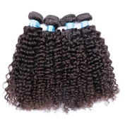 BLY Hair Deep Curly Grade 6A Malaysian Virgin Remy Human Kinky Curly Hair Extension Weave For Black Women 4 Bundles 400g - Natural Black Mixed-Length 10 12 14 41cm