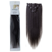 Emosa 7Pcs 70g Clip In Silky Soft Remy Real Human Hair Extensions 38cm #1B Natural Black