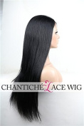 Chantiche Silky Straight Silk Top Lace Front Wig For African Americans Brazilian Remy Human Hair Full Wigs With Baby Hair 130 Density Medium Brown Lace 60cm #1B