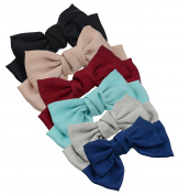 6-Pack Fashion Double-Deck Chiffon Large Solid Colour Bowknot Hair Clip Women Girls Headband Hair Bow Accessories