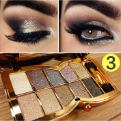 QzoneFire Womens 10 Colours Waterproof Make UP Glitter Eyeshadow Palette with Brush and Mirror