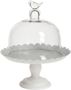 Transpac Metal and Glass Cake Holder, Large, White