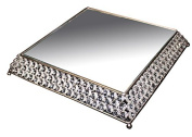 Essential Décor Entrada Collection Cake Stand, with Clear Crystal, 13.5 by 34cm by 5.1cm , Silver