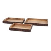 IMAX 71822-3 Nakato Wood Bark Serving Trays (Set of 3), Natural