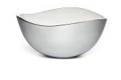 Savora Dimple Stainless Steel and Enamel Serving Bowl, 30cm , Snow