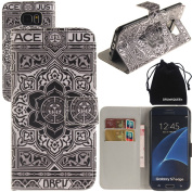 S7 Edge Case, DRUnKQUEEn Wallet Purse Type Leather Credit Cards Case with Cellphone Holder Flip Cover for for for for for for for for for for for Samsung Galaxy S7Edge G935