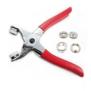Bluemoona - Press Snap Fastener Pliers Stud Attaching Tool 1cm 25 Sets Nickel Sew