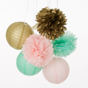 Set of 9 Mixed Gold Pink Mint Paper Lantern Paper Pompoms Flower Ball Themed Party Hanging Decoration Favour