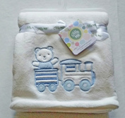 Plush Ivory Baby Blanket With Blue Teddy & Train Applique'
