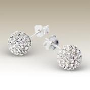 Sterling Silver Crystal Ball Earrings 8mm