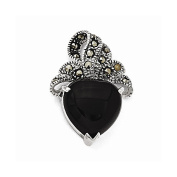 Perfect Jewellery Gift Sterling Silver Marcasite and Onyx Heart Pendant