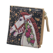 HeySun Ladies Leather Horse Print Card Holder Coin Purse Small Bifold Wallet for Girls