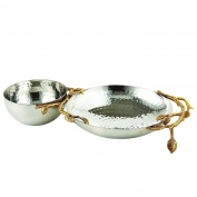 Elegance 70041 Golden Vine Hammered Chip & Dip, Gold/Silver