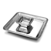 Wilton Armetale Flutes and Pearls 2-Piece Large Square Chip and Dip Serving Set, 38cm