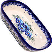 Polish Pottery Ceramika Boleslawiec, 0726/162, Butter Platter, 6 Long by 11cm Wide - 2 Cubes, Royal Blue Patterns with Blue Pansy Flower Motif