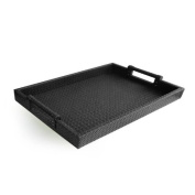 American Atelier Leather Serving Tray with Handles, 36cm by 48cm , Black