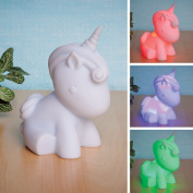 Bits and Pieces - Colour Changing Unicorn Nightlight - Adorable Light Cycles Through Rainbow of Colours