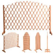 Expanding Portable Fence Wooden Screen Dog Gate Pet Safety Kid Patio Garden Lawn