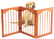 Kleeger Wooden Pet Gate, Foldable & Freestanding, For Indoor Home & Office Use. Keeps Pets Safe [ Natural Classic Arch Decorative Design]. Easy Set Up, No Tools Required. ...